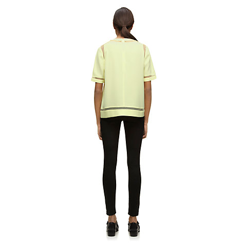 Buy Whistles Lori Sheer Panel Top, Yellow Online at johnlewis.com