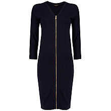 Buy Jaeger Zip Front Dress, Navy Online at johnlewis.com