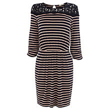 Buy Oasis Crochet Trim Striped Dress, Navy Blue Online at johnlewis.com