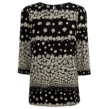 Buy Oasis Daisy Placement Sleeve Top, Multi Black Online at johnlewis.com