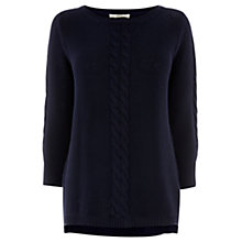 Buy Oasis Cotton Waffle Jumper, Navy Online at johnlewis.com