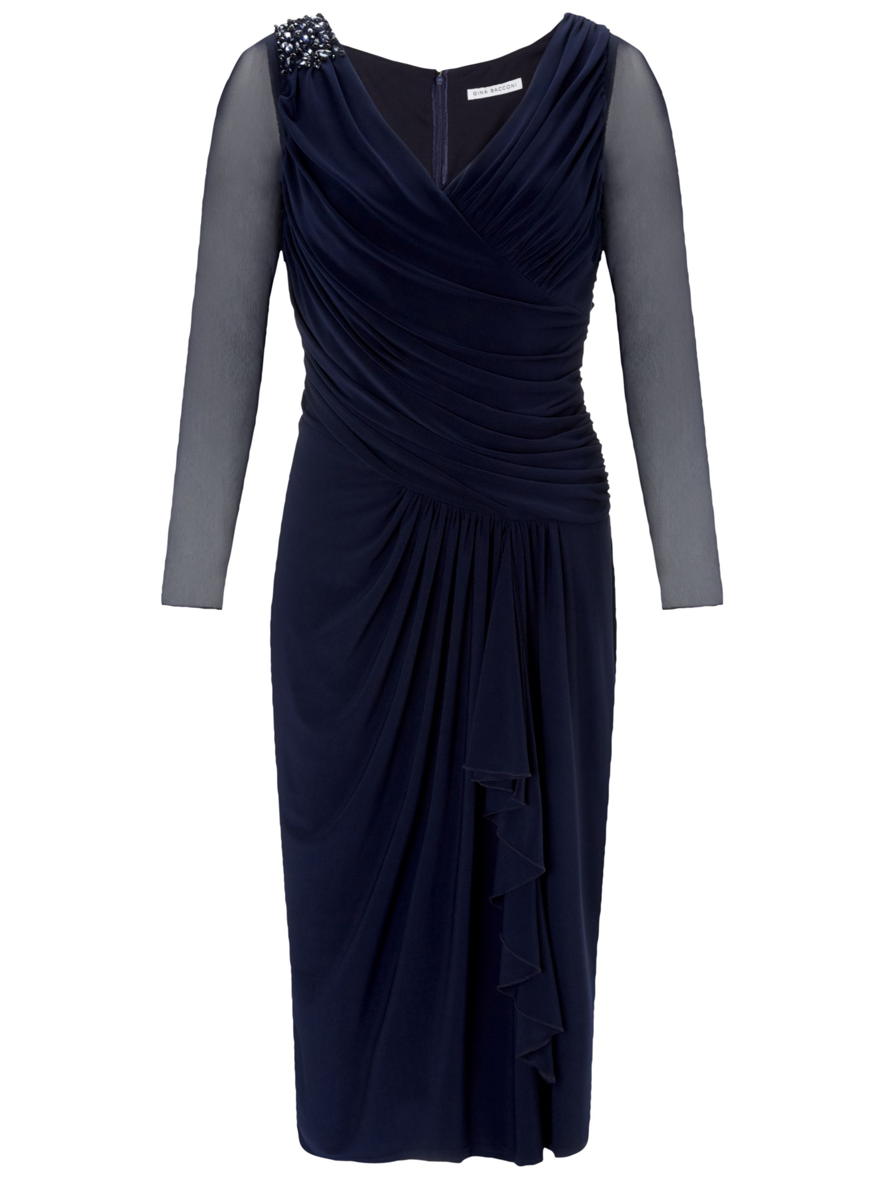 Gina Bacconi Jersey Beaded Dress, Spring Navy