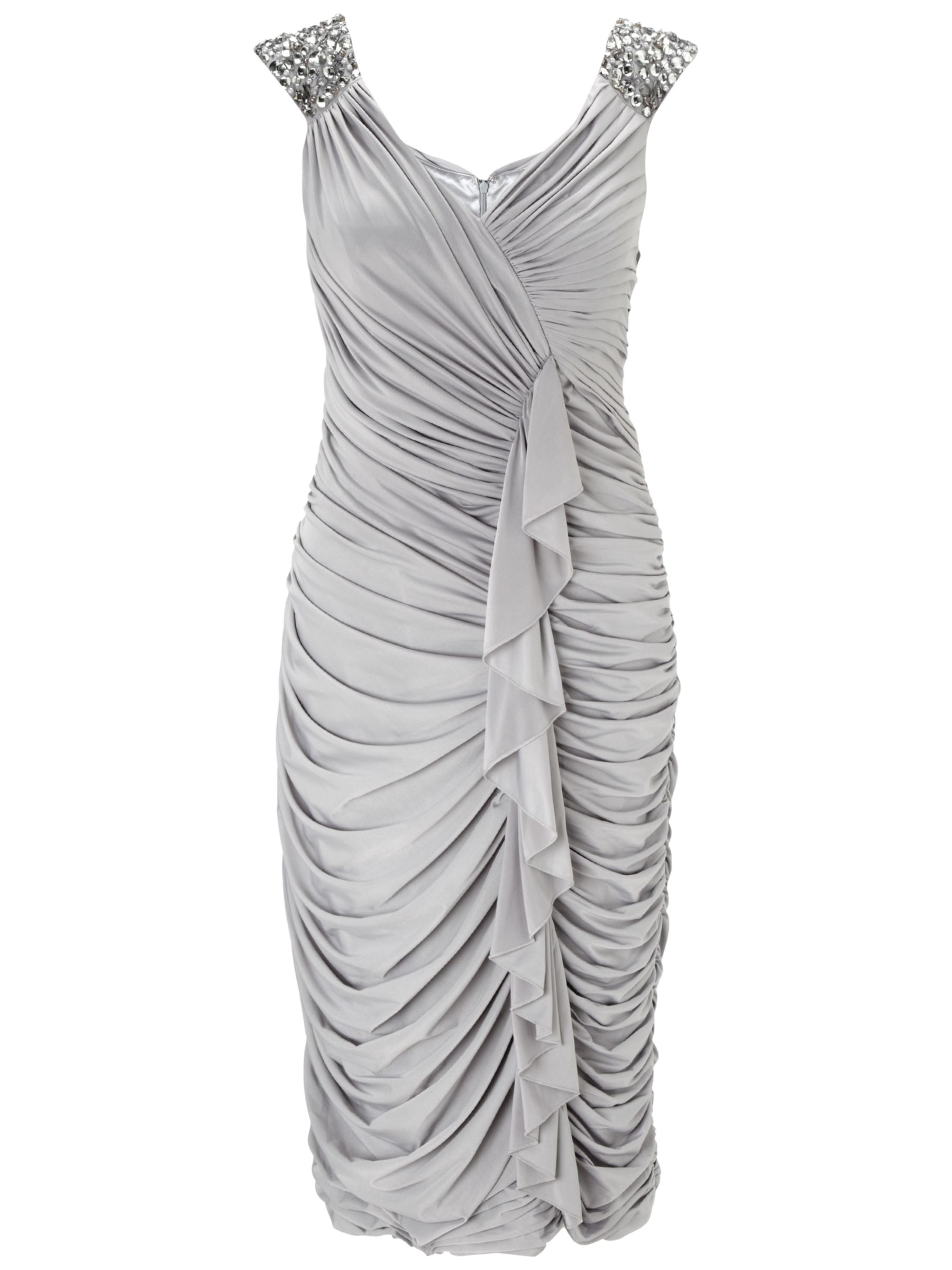 Gina Bacconi Ruched Jersey Dress, Silver