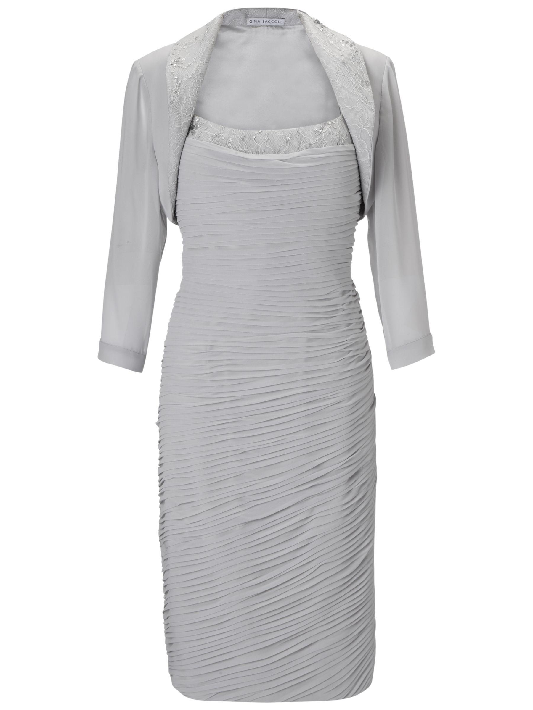 Gina Bacconi Cowl Neck Chiffon Bolero Dress, Silver