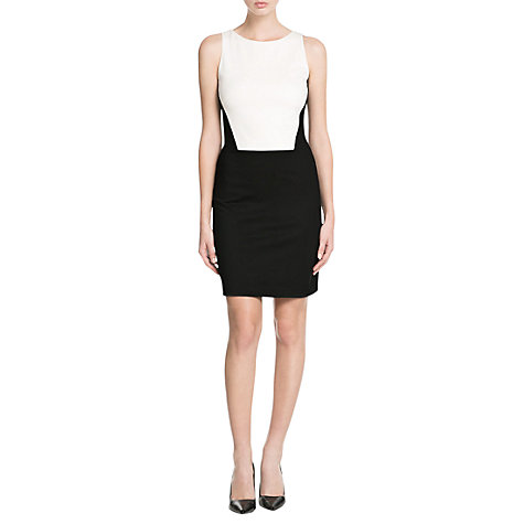 Buy Mango Monochrome Fitted Dress, Black Online at johnlewis.com