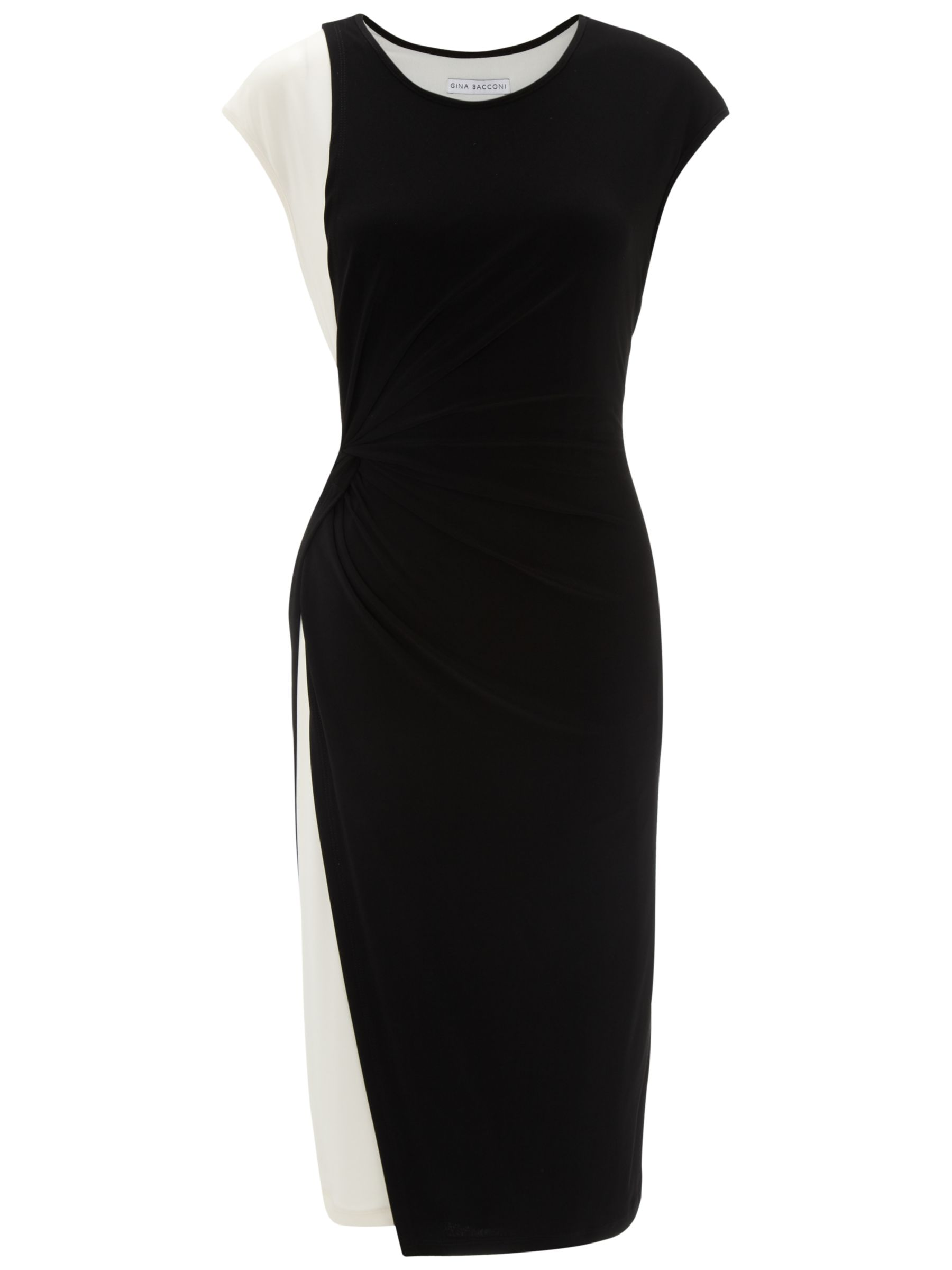 Gina Bacconi Jersey Layer Dress, Black-Chalk