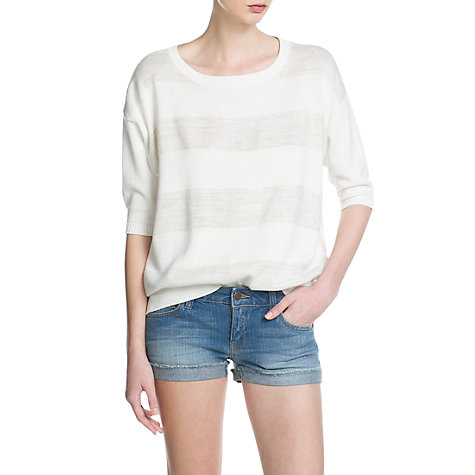 Buy Mango Metallic Stripe Jumper, Natural White Online at johnlewis.com