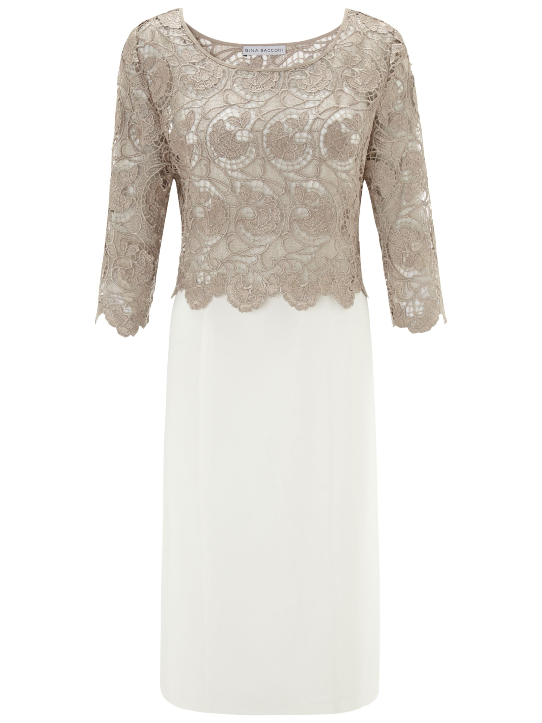 Gina Bacconi Crochet Dress, Beige