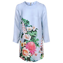Buy True Decadence Long Sleeve Border Print Shift Dress, Sky Blue Online at johnlewis.com