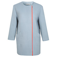 Buy Miss Selfridge Collarless Neon Zip Coat, Blue Online at johnlewis.com