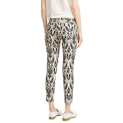 Buy Mango Baroque Print Trousers, Natural White Online at johnlewis.com