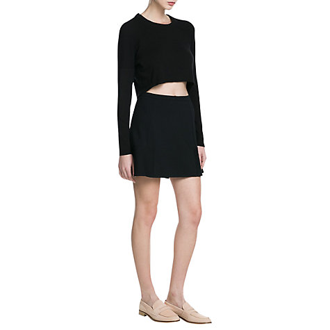 Buy Mango Ribbed Cropped Jumper, Black Online at johnlewis.com