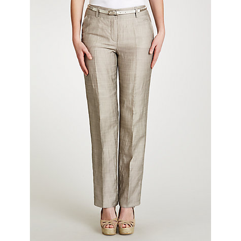 Buy Gerry Weber Tailored Linen Mix Trousers, Khaki Online at johnlewis.com