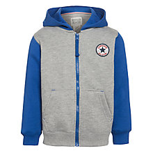 Buy Converse Boys' Contrast Sleeve Zip Hoodie, Grey/Blue Online at johnlewis.com