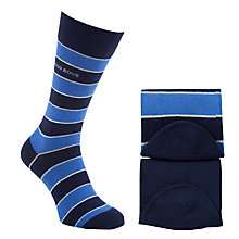 Buy BOSS Stripe Socks, Pack of 2, Blue/Navy Online at johnlewis.com