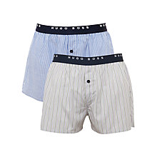Buy BOSS Woven Stripe Boxers, Pack Of 2, Blue/Lilac Online at johnlewis.com