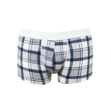 Buy BOSS Essential Check Trunks, Grey Online at johnlewis.com