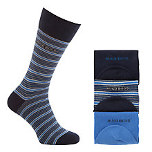 Buy BOSS Stripe Socks, Pack of 3, Blue/Navy Online at johnlewis.com