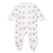 Buy Cath Kidston Baby Floral Print Sleepsuit, Cream/Multi Online at johnlewis.com