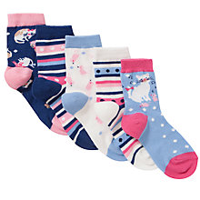 Buy John Lewis Girl Cat Socks, Pack of 5, Multi Online at johnlewis.com