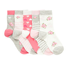 Buy John Lewis Girl Vintage-Style Floral Socks, Pack of 5, Pink/Grey Online at johnlewis.com