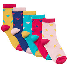 Buy John Lewis Girl Star Socks, Pack of 5, Multi Online at johnlewis.com