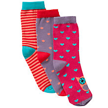 Buy John Lewis Girl Patterned Owl Socks, Pack of 3, Red/Pink Online at johnlewis.com