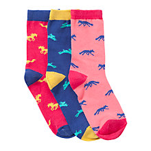 Buy John Lewis Girl Animal Silhouette Socks, Pack of 3, Multi Online at johnlewis.com