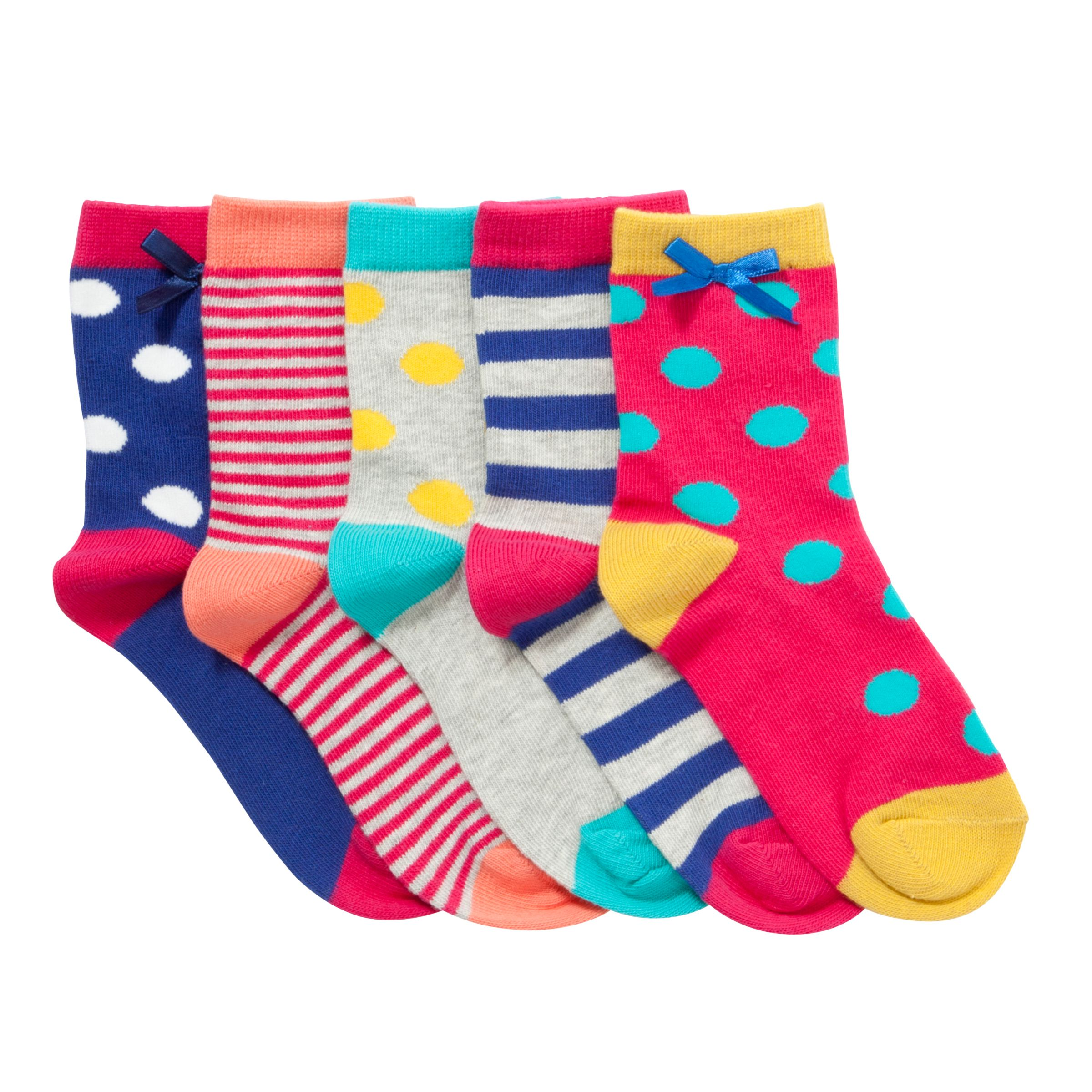 John Lewis Girl Dot & Stripe Socks, Pack of 5, Multi