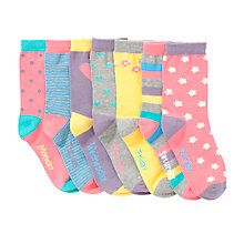 Buy John Lewis Girl Days of the Week Socks, Pack of 7, Multi Online at johnlewis.com