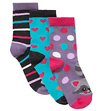 Buy John Lewis Girl Patterned Animal Socks, Pack of 3, Multi Online at johnlewis.com