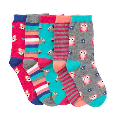 John Lewis Girl Woodland Socks, Pack of 5, Multi