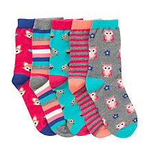 Buy John Lewis Girl Woodland Socks, Pack of 5, Multi Online at johnlewis.com