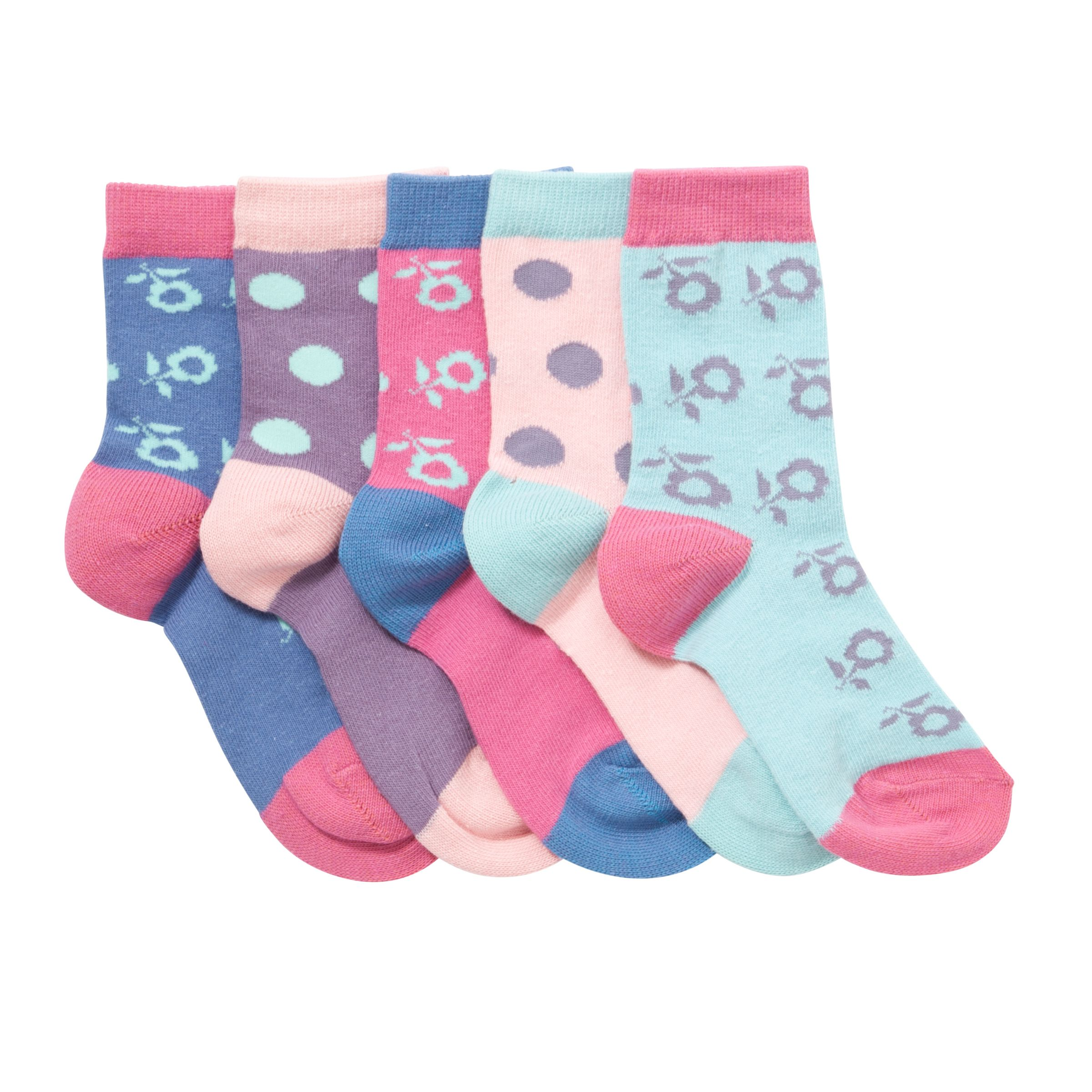 John Lewis Girl Floral & Dot Socks, Pack of 5, Multi