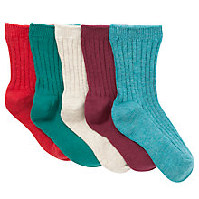 Buy John Lewis Boy Ribbed Socks, Pack of 5, Green/Red Online at johnlewis.com