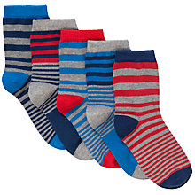 Buy John Lewis Boy Stripe Socks, Pack of 5, Blue Online at johnlewis.com