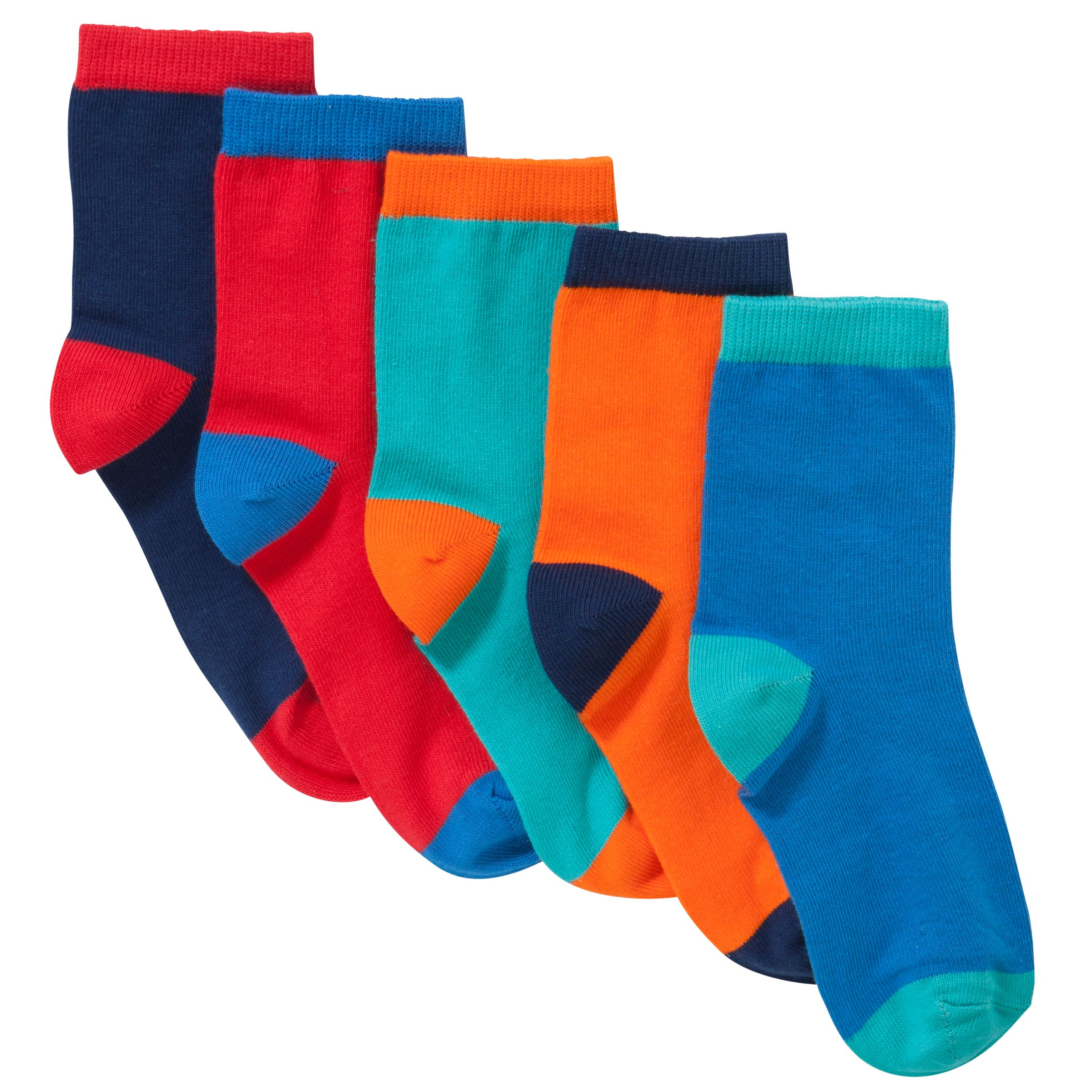 John Lewis Boy Contrast Heel Socks, Pack of 5, Multi