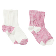 Buy John Lewis Girl Ribbed Socks, Pack of 2, Pink Online at johnlewis.com