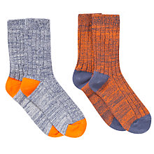 Buy John Lewis Boy Boot Socks, Pack of, Orange/Grey Online at johnlewis.com