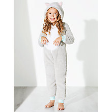 Buy John Lewis Girl Fleece Cat Onesie, Grey Online at johnlewis.com