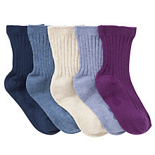 Buy John Lewis Boy Ribbed Socks, Pack of 5, Blue/Purple Online at johnlewis.com