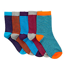 Buy John Lewis Boy Fine Stripe Socks, Pack of 5, Multi Online at johnlewis.com