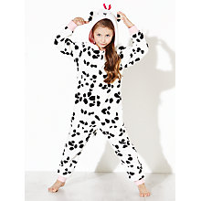 Buy John Lewis Girl Dalmatian Fleece Onesie, Black/White Online at johnlewis.com