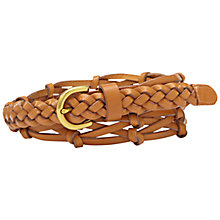 Buy Fossil Woven Knotted Leather Belt, Tan Online at johnlewis.com