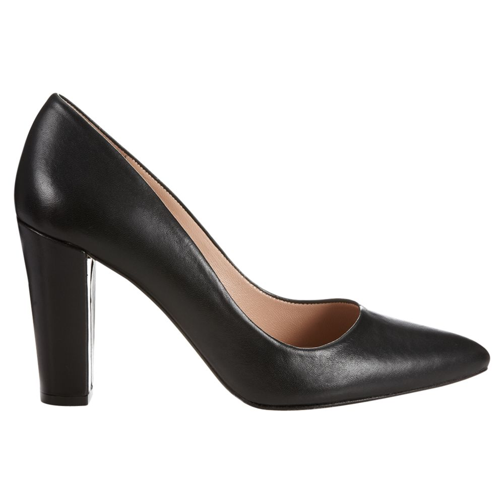 Jigsaw Jane Leather Court Shoes, Black