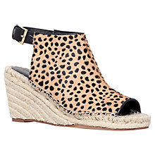 Buy KG by Kurt Geiger Mid Heel Espadrille Leather Wedges, Tan/Pony Online at johnlewis.com