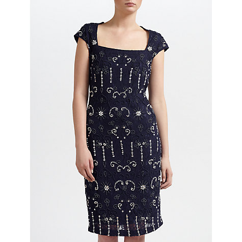 Buy Gina Bacconi Beaded Lace Dress, Navy Online at johnlewis.com