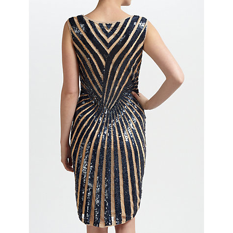 Buy Gina Bacconi Stripe Beaded Dress, Navy Online at johnlewis.com
