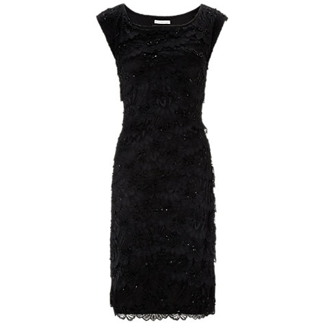 Buy Gina Bacconi Beaded Tier Lace Dress, Black Online at johnlewis.com