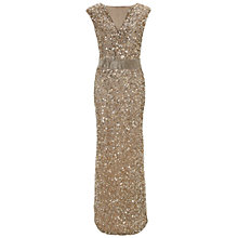 Buy Gina Bacconi Long Beaded Dress, Gold/Silver Online at johnlewis.com